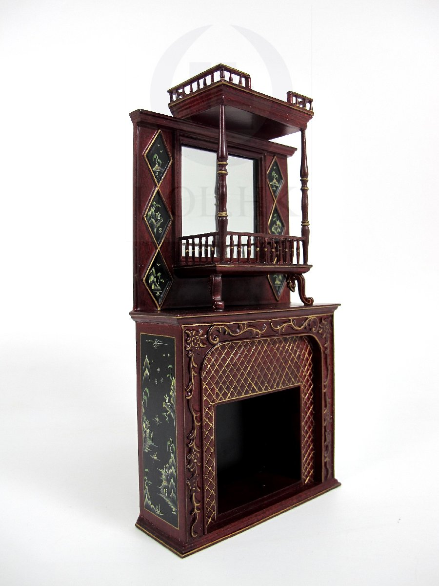 Dollhouse Handpainted Fireplace Finished In Mahogany