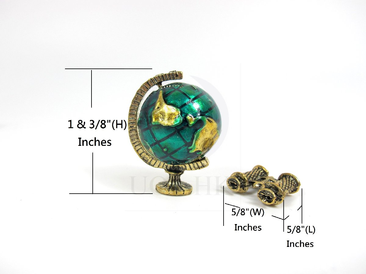 "1"" Scale Dollhouse Miniature Metal Spinning Globe With Telescope"