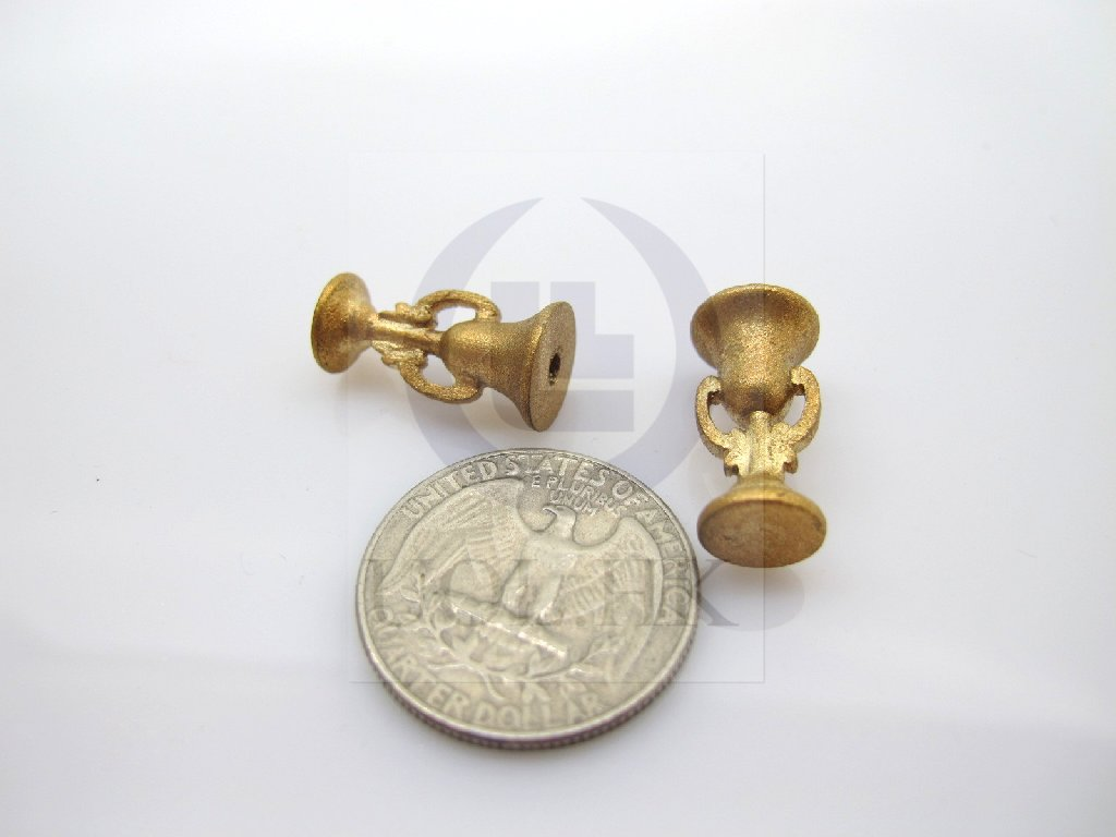 1:12 Scale Doll House Golden Candle Stand--A Pair