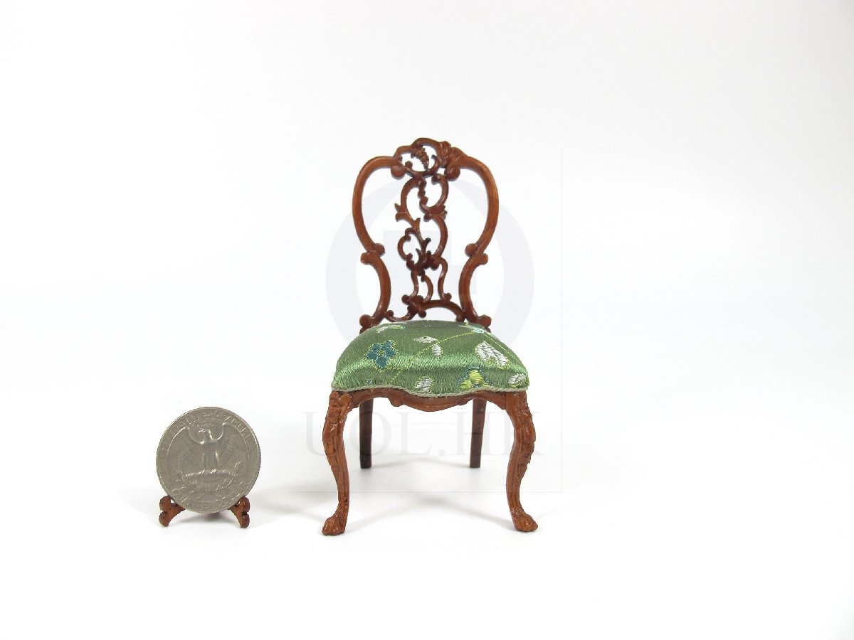 1:12 Scale Dollhouse Side Chair[Green Fabric Seat]
