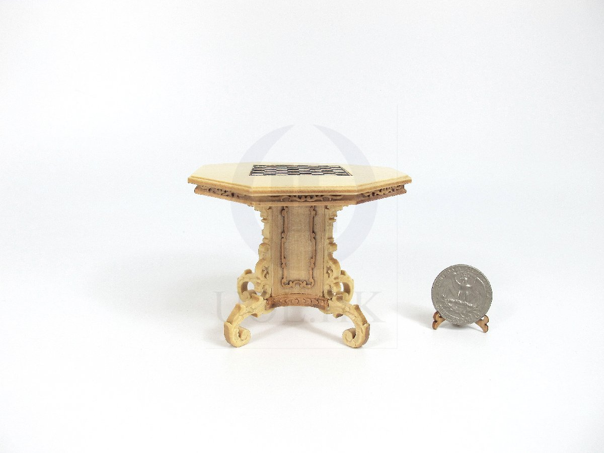 1:12 Scale Miniature Mid-Victorian Chess Table For Doll House
