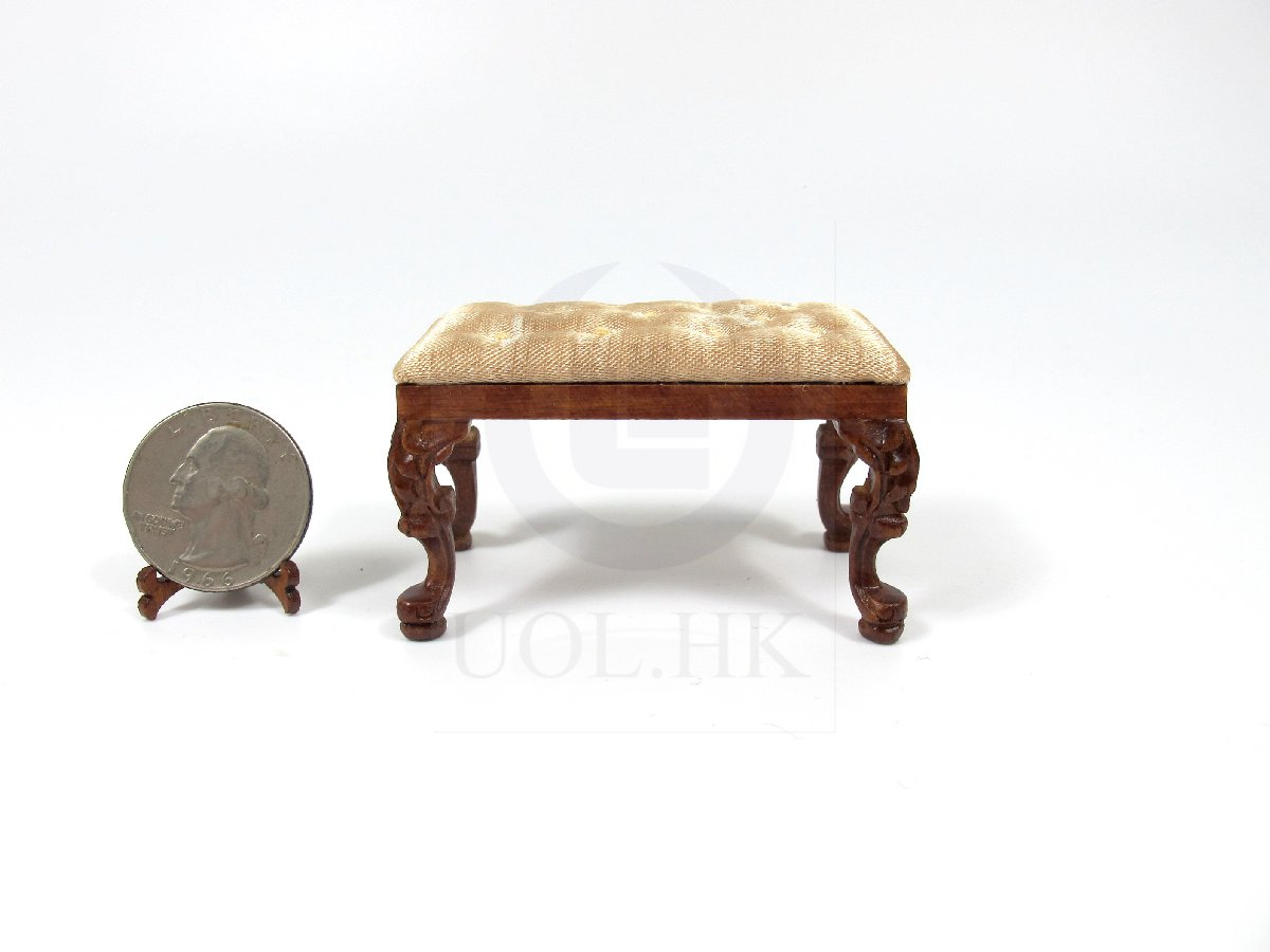 Doll House 1:12 Scale Rococo Style Victorian Grand Piano Stool