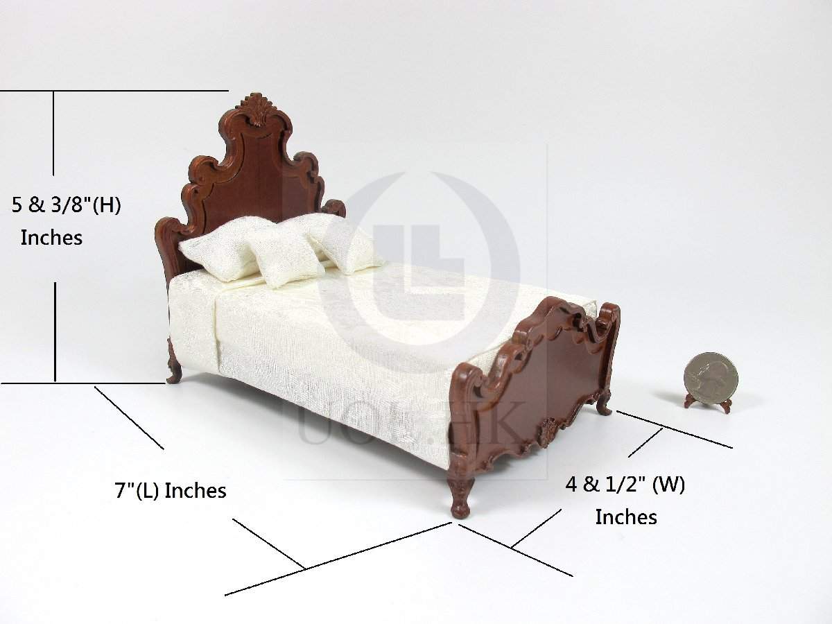 "1:12 Scale Miniature The ""Escala ""King Bed For Doll House [WN]"