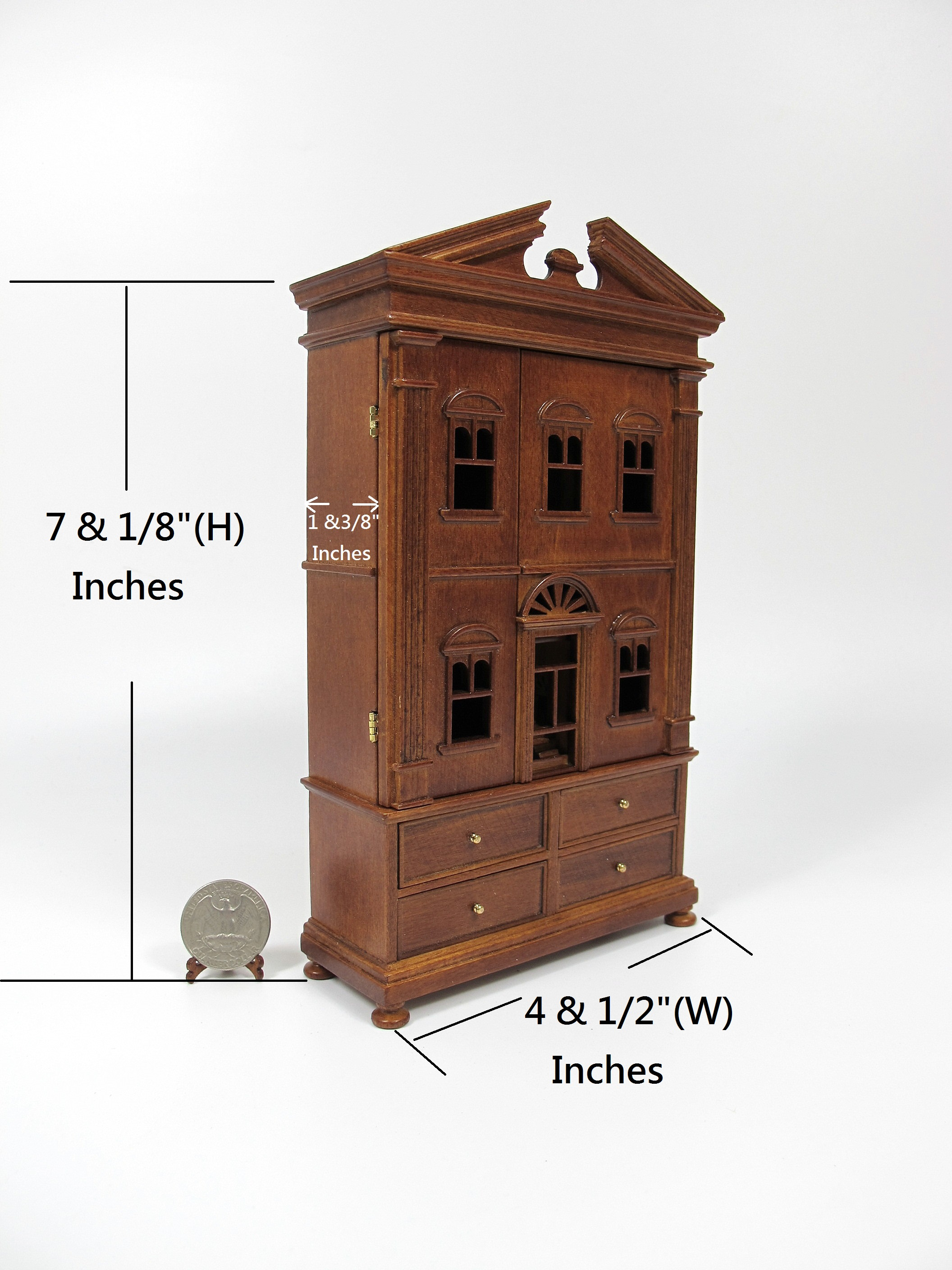 "Miniature Wooden The ""Barbara"" Baby House[Finished in walnut]"