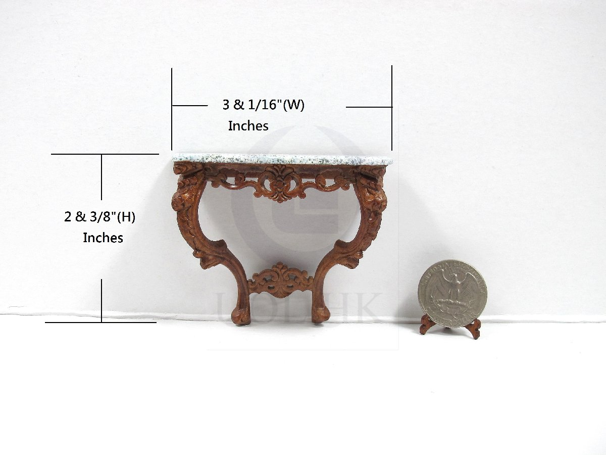 1 Scale Miniature French Marble Top Console Table For Dollhouse