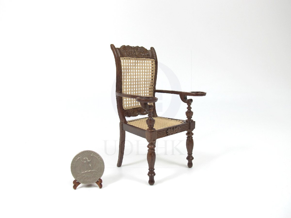 "1:12 Scale Miniature The ""Ceylonese"" Armchair For Dollhouse [MW]"