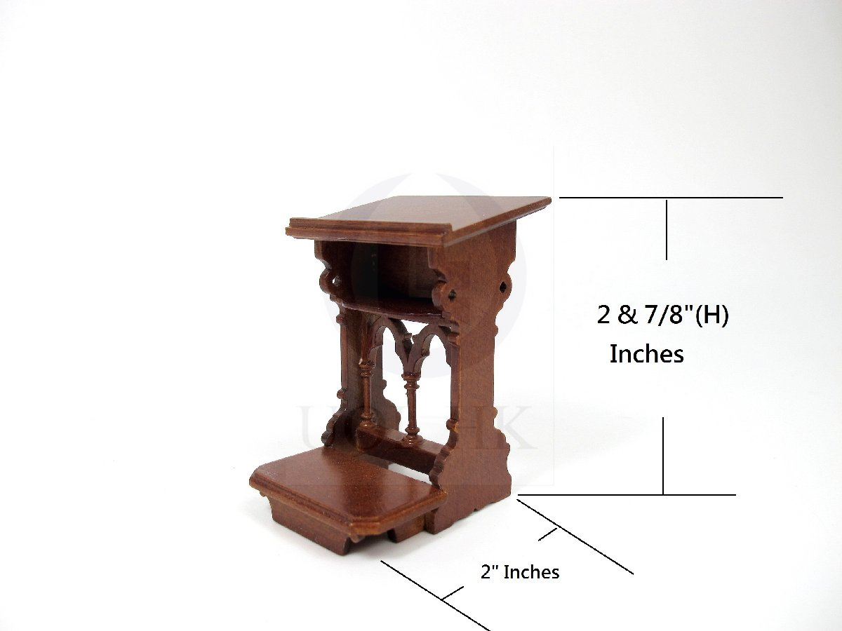 1:12 Scale Dollhouse Bible Stand Gothic/Prayer Kneeler Bench[WN]