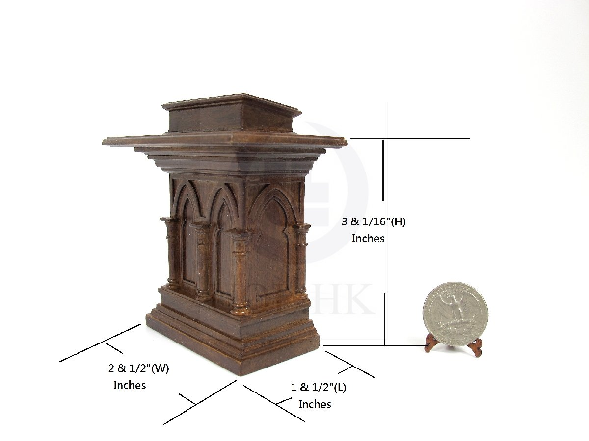 1:12 Scale Miniature Wooden Gothic Carved Podium Or Lectern[mw]